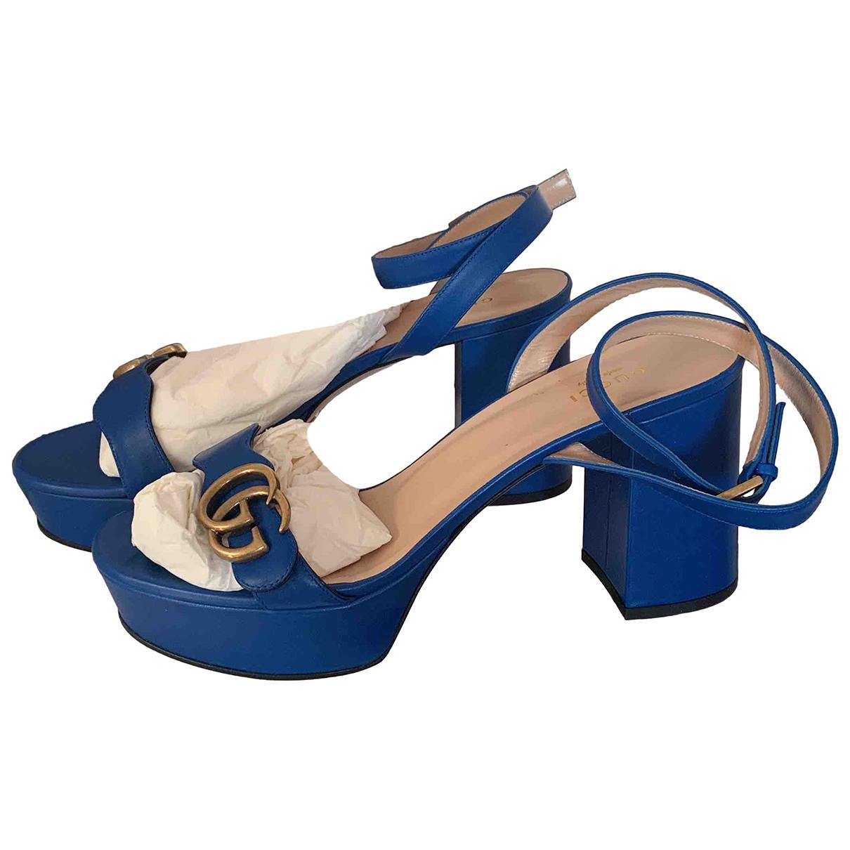 Gucci Marmont Sandalen in  Blau Leder