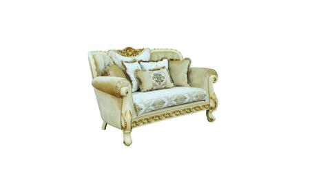 Fantasia Collection Luxury Loveseat  Hand Carved and Handcrafted  Seat cushions Reversible  Mahogany Wood Solid  in Gold and Off White