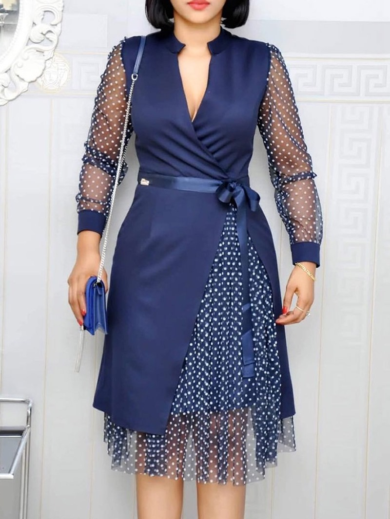 Ericdress Patchwork Mesh Polka Dots Mid-Calf V-Neck A-Line Regular Dress