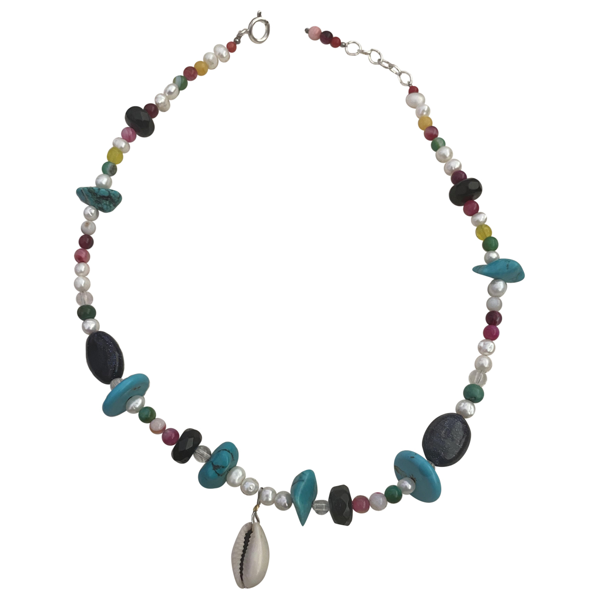 Non Signe / Unsigned Motifs Coquillages Kette in  Bunt Silber