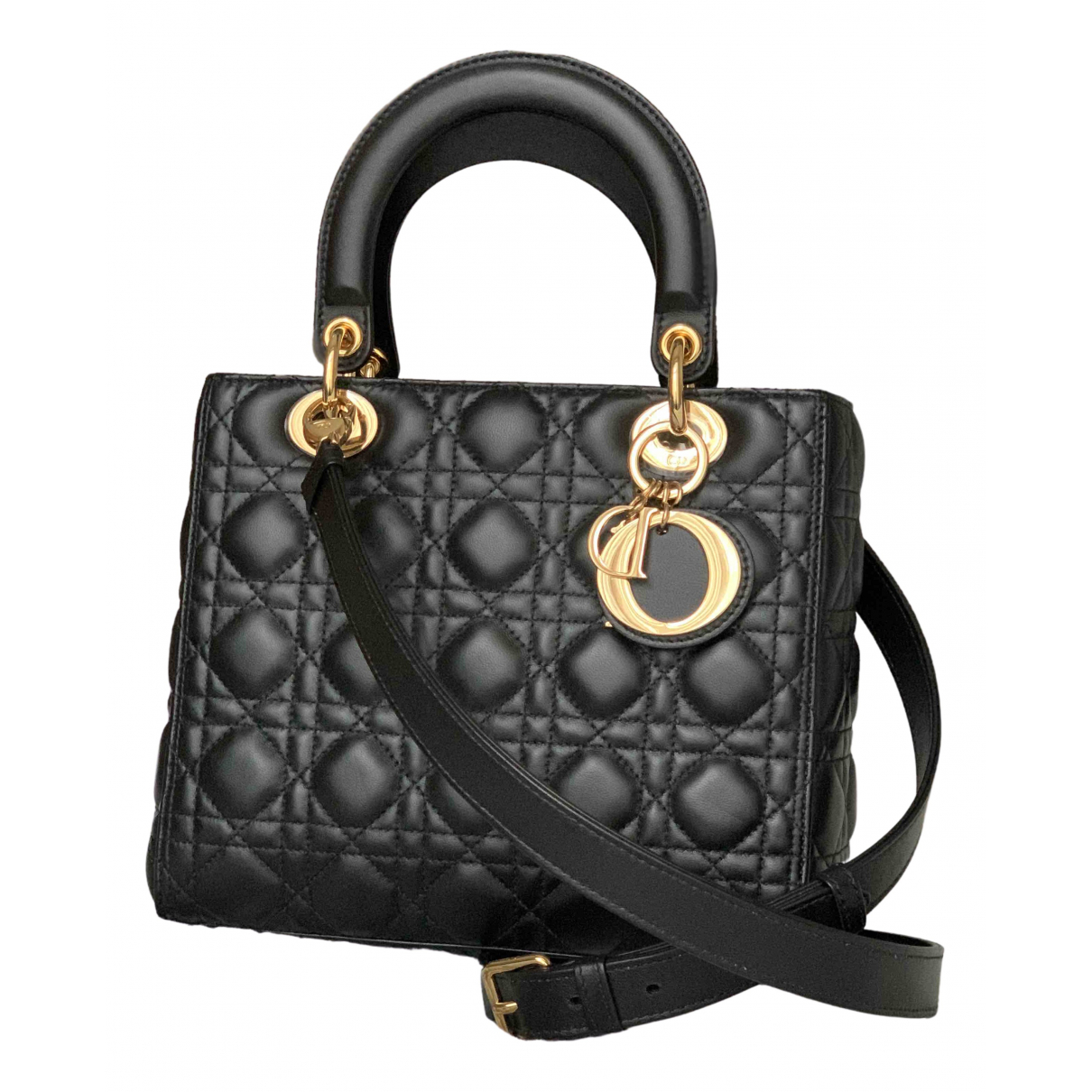 Dior Lady Dior Black Leather handbag for Women N