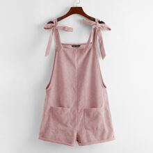 Knot Shoulder Patch Pocket Cord Overall Shorts