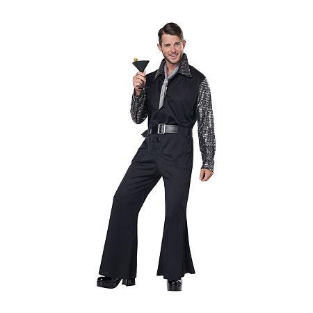 Mens Flashy 70'S Style Jumpsuit Mens Costume, Large , Black