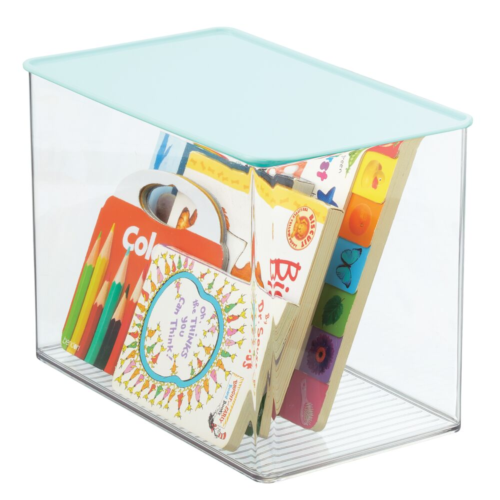 Plastic Toy Storage Box with Contrast Lid in Clear/Mint Green, 12.75