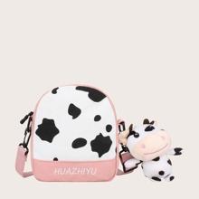 Girls Cow Print Crossbody Bag With Bag Charm