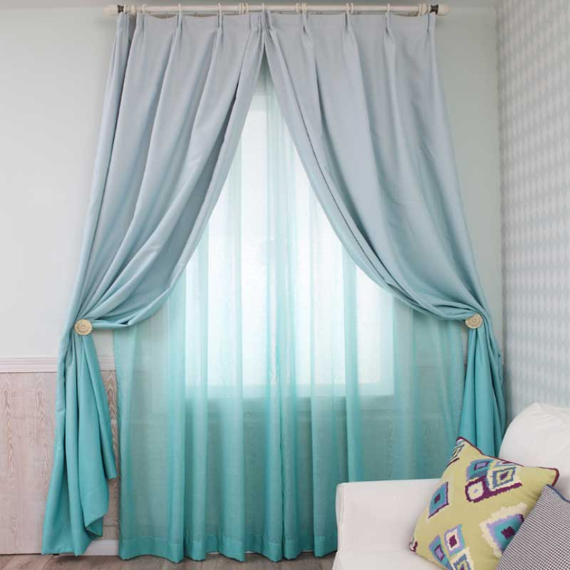 Gorgeous Sea Blue Gradient Color Concise and Modern Custom Shading Curtain