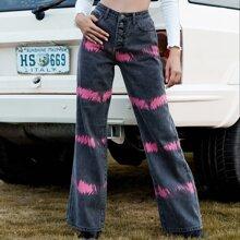 Jeans mit Batik und breitem Beinschnitt