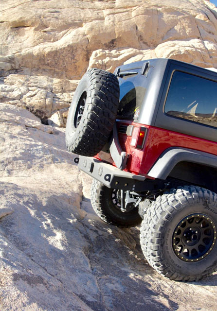 Jeep JK Rear Mid Width Bumper Combo Standard Tow Hitch With Flush Mounts 07-18 Wrangler JK 2/4 Door TSC Bare Steel Excessive Industries EI40182413