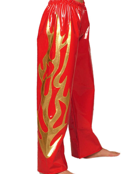 Milanoo Red And Golden Patterned PVC Shiny Metallic Pants