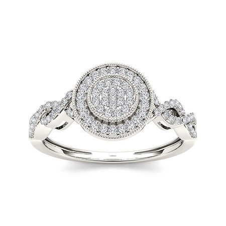 1/5 CT. T.W. Diamond 10K White Gold Engagement Ring, 6 , No Color Family
