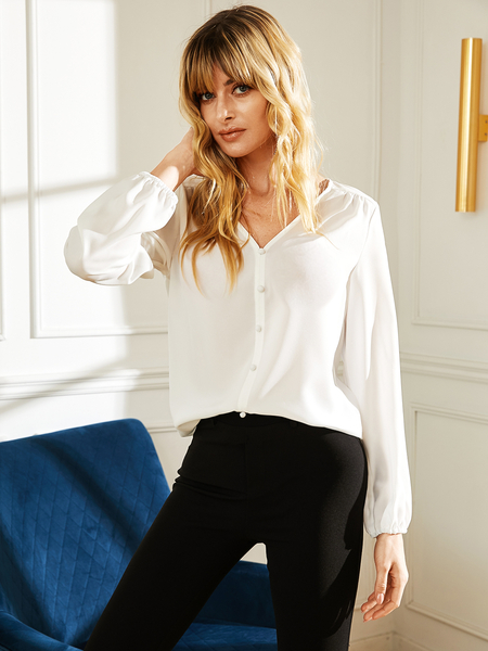 YOINS White Button Design V-neck Long Sleeves Design Blouse