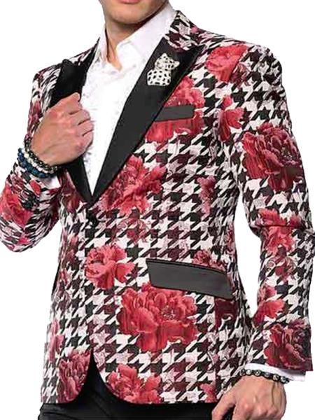 Men's SportCoat Single Breasted Black Lapel Double Vent Fashion Blazer