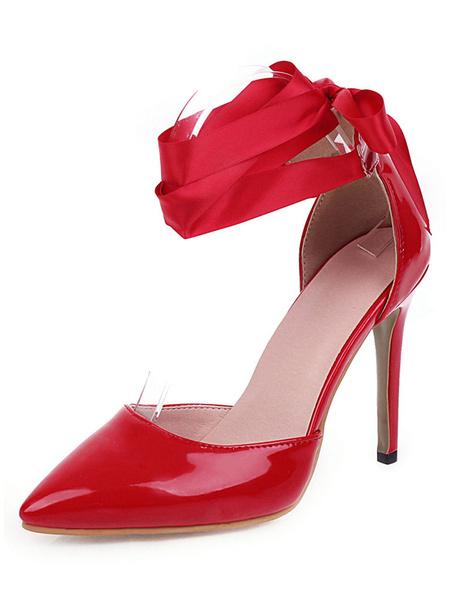 Milanoo La patente desnuda de las mujeres Bombas Zapato con cierre de punta estrecha d\Orsay tacones altos mas el tamaño de los zapatos