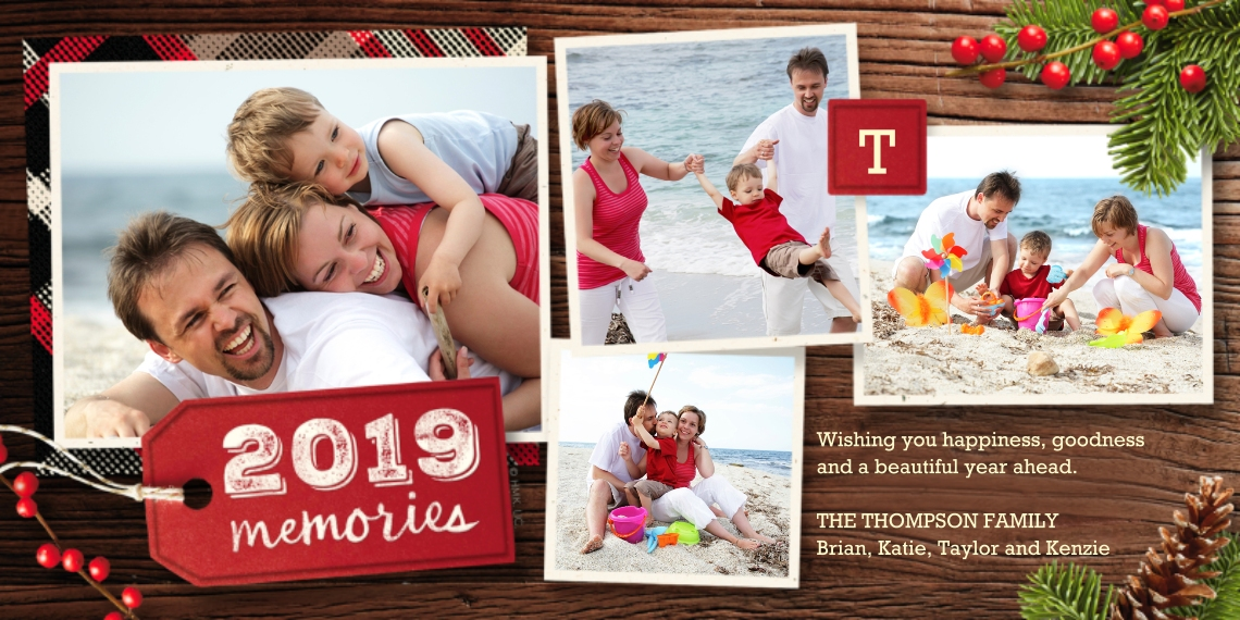 Christmas Photo Cards 4x8 Flat Card Set, 85lb, Card & Stationery -2019 Memories Wood & Pine