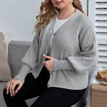 Plus Button Front Rib-knit Cardigan