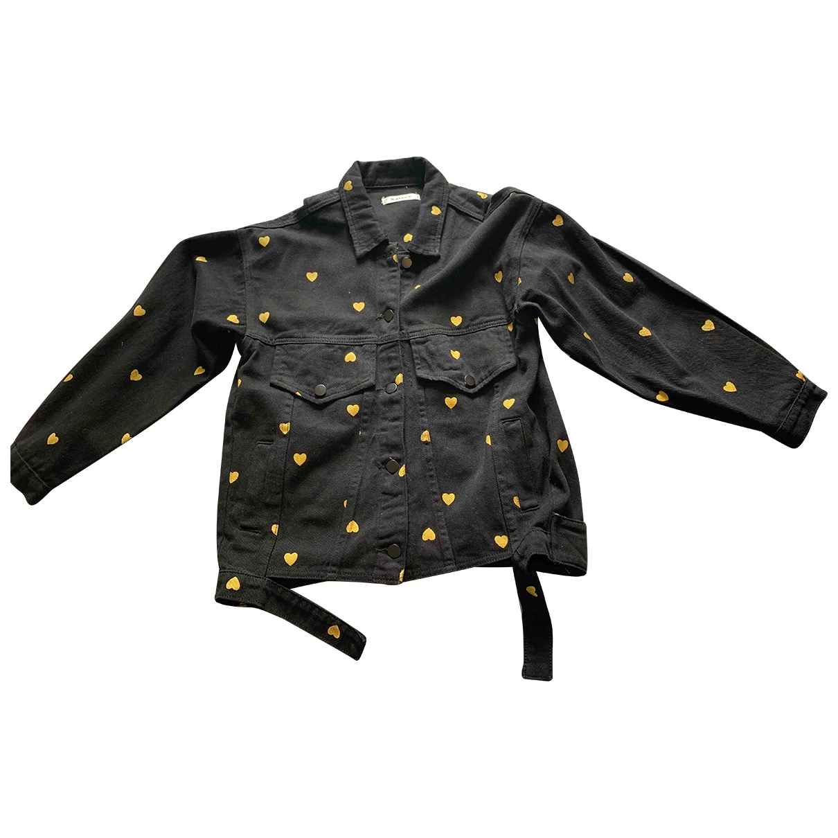 Non Signé / Unsigned Oversize Black Cotton Leather jacket for Women One Size FR