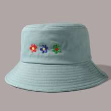 Flower Embroidery Bucket Hat