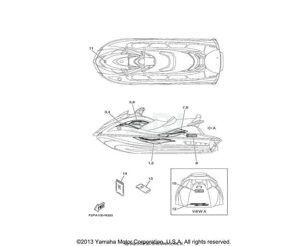 Yamaha OEM F2P-U417B-70-00 GRAPHIC 1 (LH)   DELUXE GRAY
