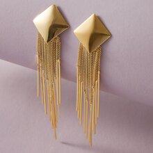 Tassel Geometric Drop Earrings