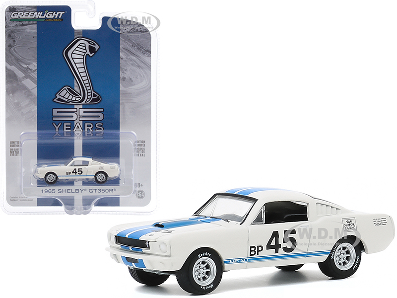 1965 Ford Mustang Shelby GT350R 45 White with Blue Stripes