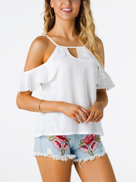 Yoins White Cut Out Cold Shoulder Short Sleeves Top