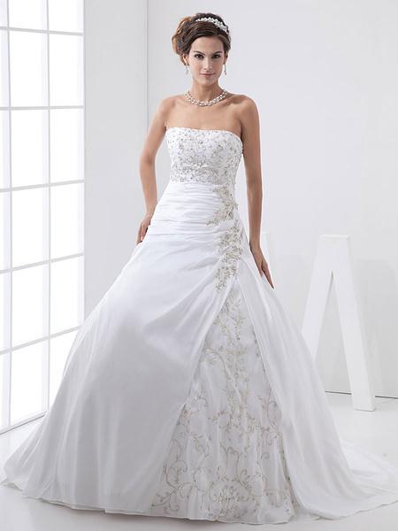 Milanoo Vestido de boda de tafetan y de linea A sin tirantes de encajes
