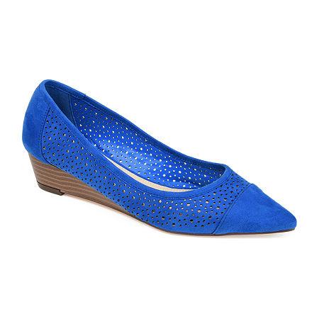 Journee Collection Womens Finnola Pointed Toe Slip-On Shoe, 6 1/2 Medium, Blue