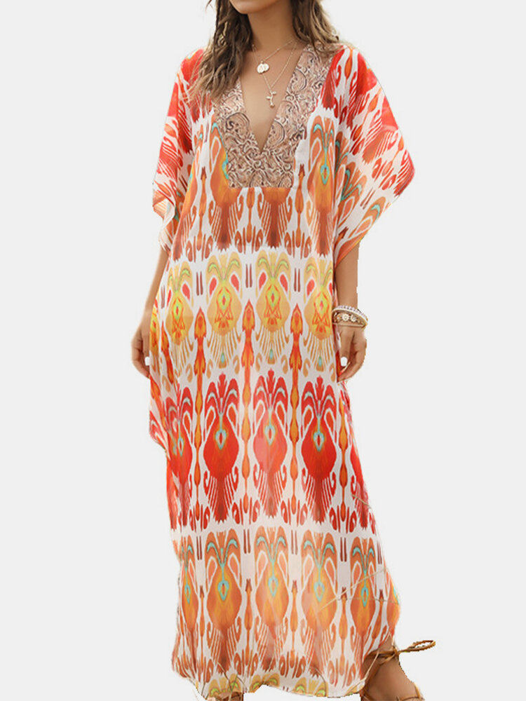 Bohemian Half Sleeve Print V-neck Maxi Dress For Women