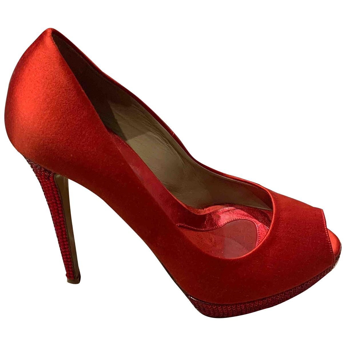 Le Silla - Escarpins   pour femme en toile - rouge