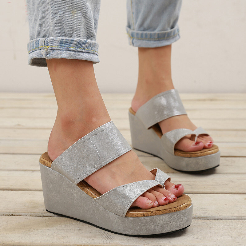 Big Size Women Casual Solid Color Clip Toe Slide Wedges Sandals