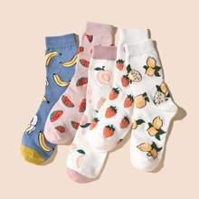 5 pares calcetines con fruta de colores