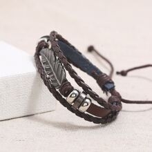 Guys Feather Decor Braided Bracelet