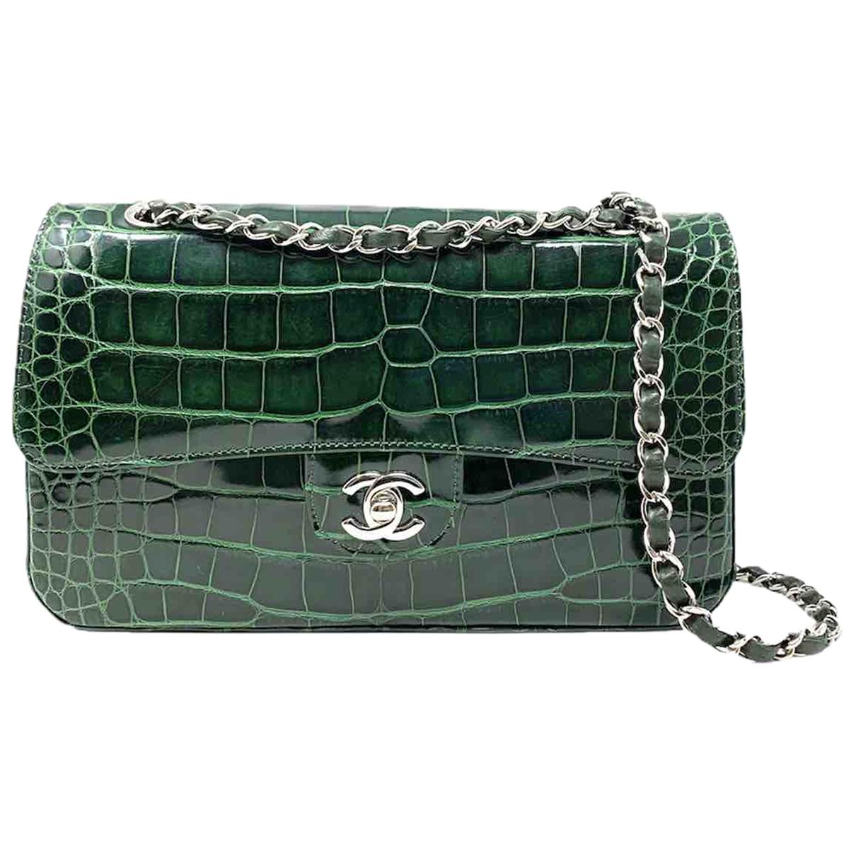 Chanel - Sac a main Timeless/Classique pour femme en crocodile - vert