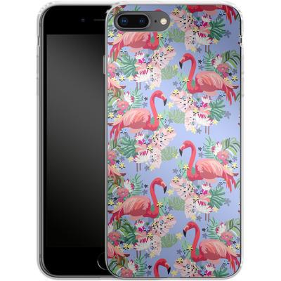 Apple iPhone 8 Plus Silikon Handyhuelle - Flamingo Tropical von Mukta Lata Barua