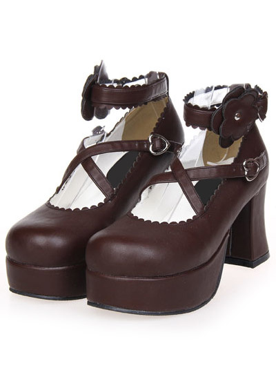 Milanoo Sweet Street Wear Light Brown PU Leather Platform Lolita Shoes