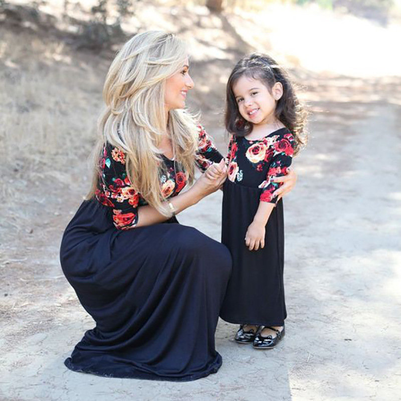 Floral Print Girls Mother Daughter Matching Dress