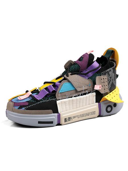Milanoo Zapatillas de deporte para hombre Lona acogedora Punta redonda Parche causal Bloque de color Zapatos para hombre