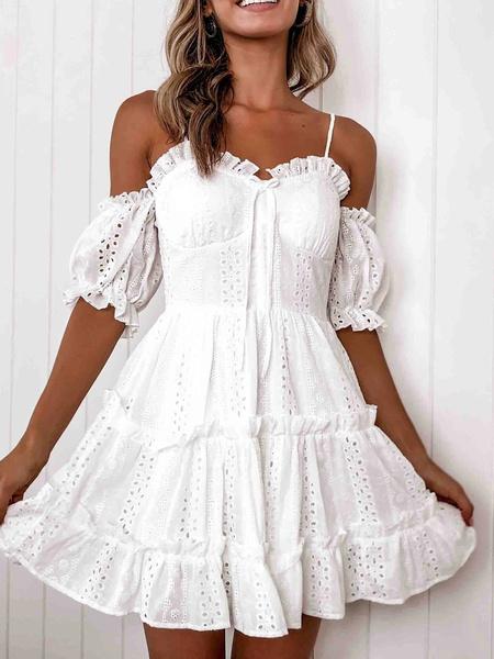 Milanoo White Summer Dress Women Straps Neck Short Sleeve Ruffles Beach Dress