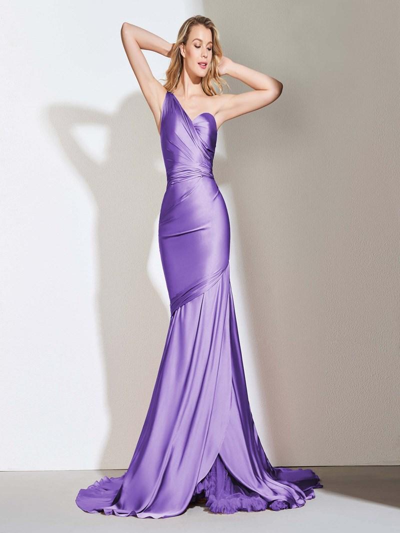 Ericdress One Shoulder Pleats Mermaid Evening Dress