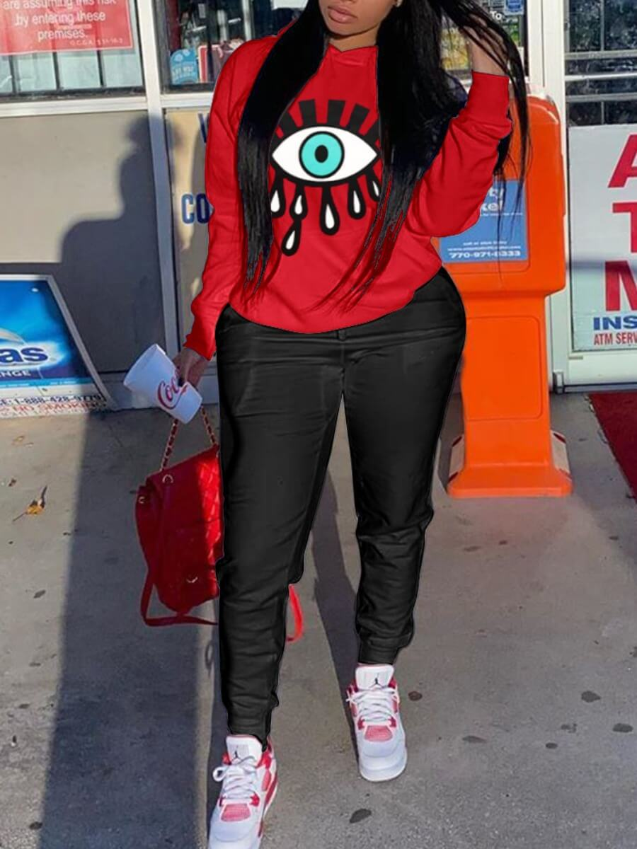 LW Lovely Casual Hooded Collar Eye Print Red Two Piece Pants Set