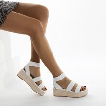 Elastic Band Espadrille Wedges