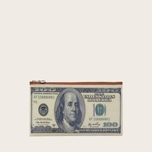 Bolsa clutch con diseño de dinero