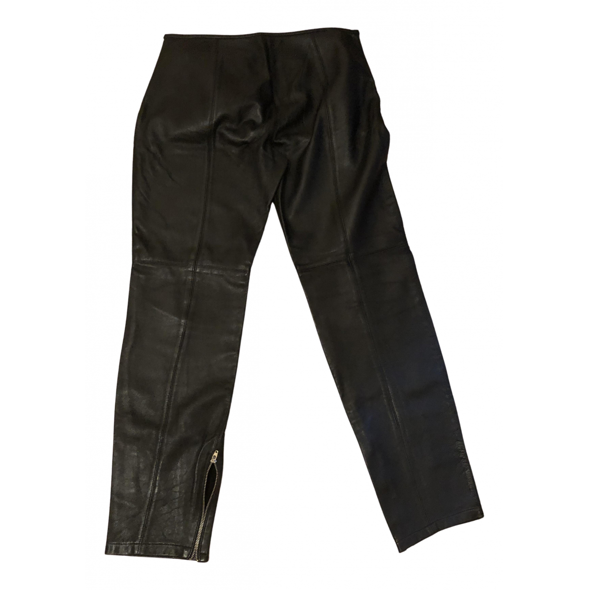 Non Signé / Unsigned N Black Leather Trousers for Women 42 IT