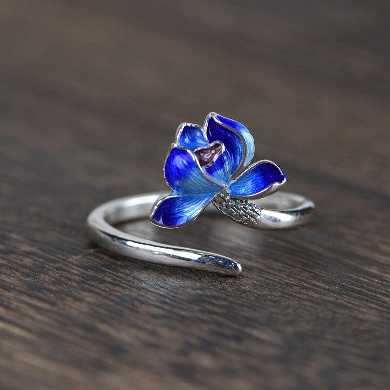 925 Silver Burnt Blue Craft Women Ring Small Fresh Open Flower Ring