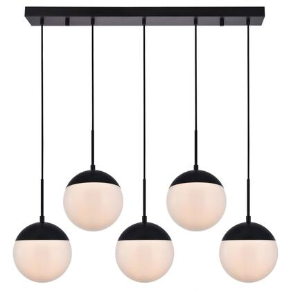LD6080BK Eclipse 5 Light 8 inch Black Pendant Ceiling Light With Frosted White