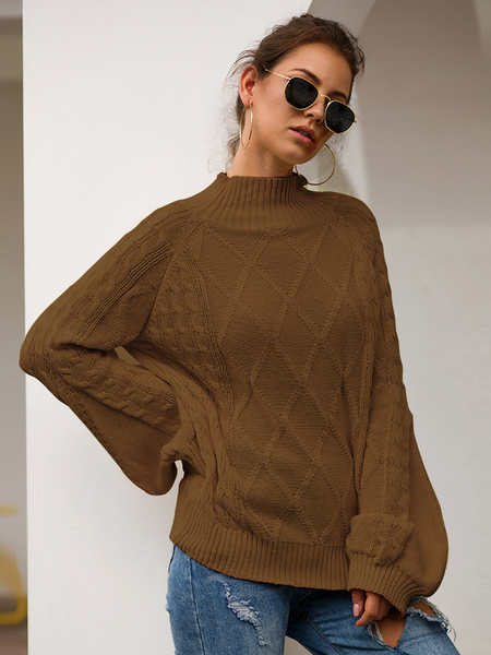 Yoins Cable Knit Chimney Collar Long Sleeves Sweater