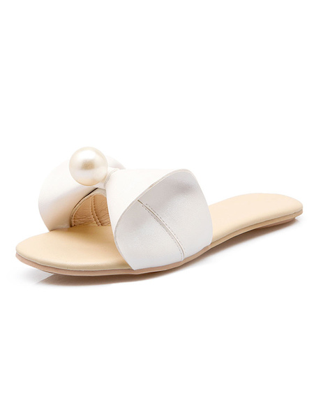 Milanoo Pink Mules Shoes Slides Women Open Toe Bow Pearls Backless Sandals Flat Sandal Slippers