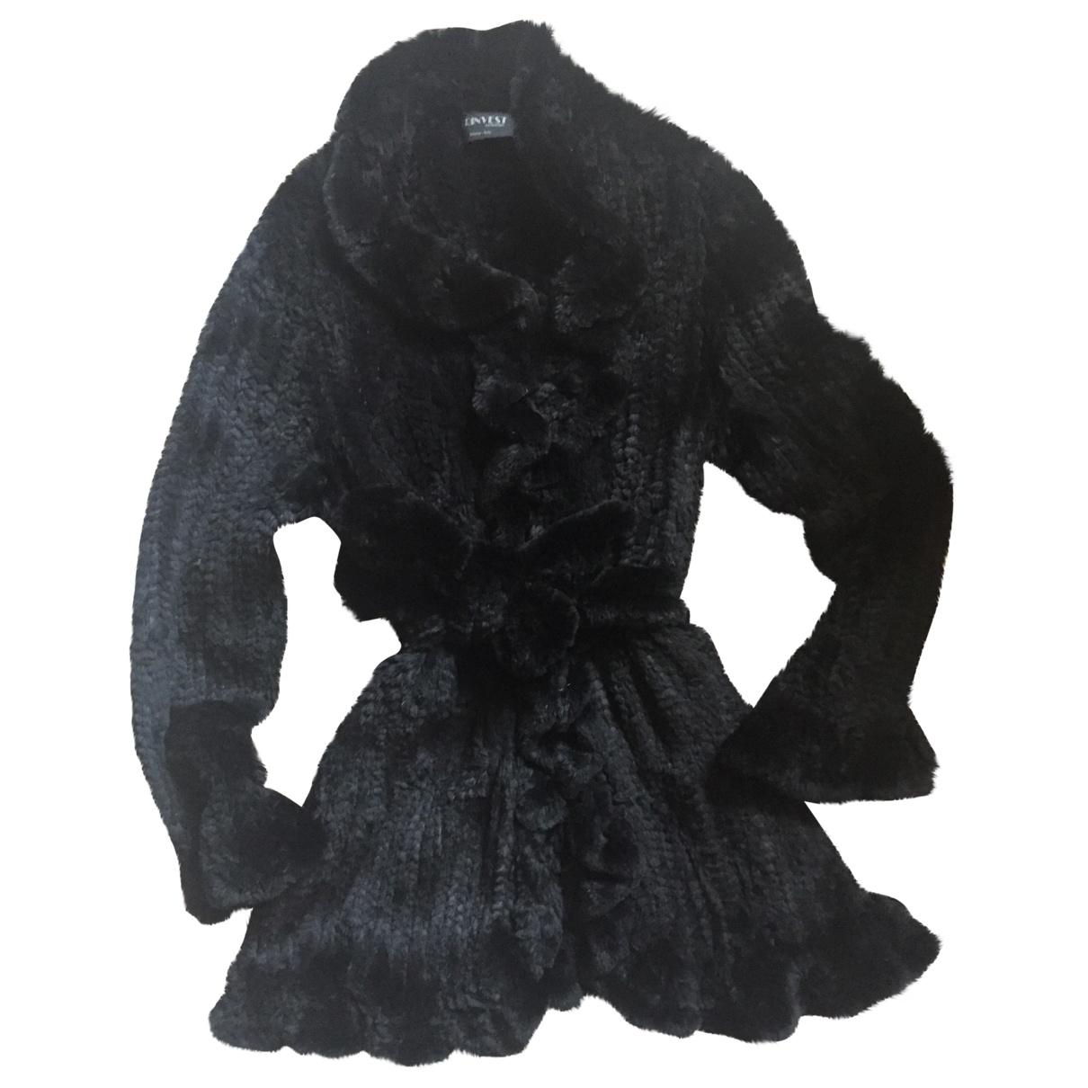 Non Signé / Unsigned \N Black Rabbit coat for Women 38 FR