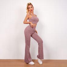 Strick Crop Cami Top & Hose mit ausgestelltem Beinschnitt