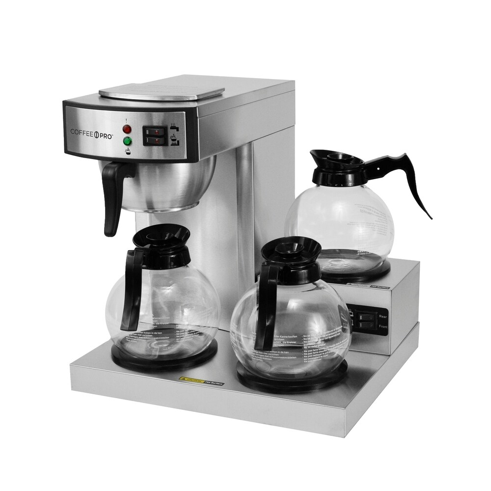 Coffee Pro CP-RLG Three Burner Low Profile Commercial Brewer (Adjustable Brew Strength - Multi - Stainless Steel - More than 1 ft. - 10-12 Cups -